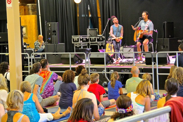 Michael Franti leads a yoga class at Mountain Jam 2015